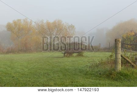 Lone bench in a misty fogy field
