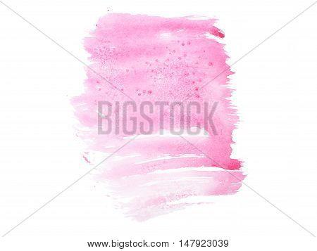 Pink watercolor aquarelle hand drawn color shape art paint splatter stain.