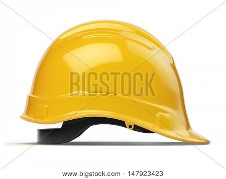 Yellow hard hat, safety helmet isolated on white. 3d illustration