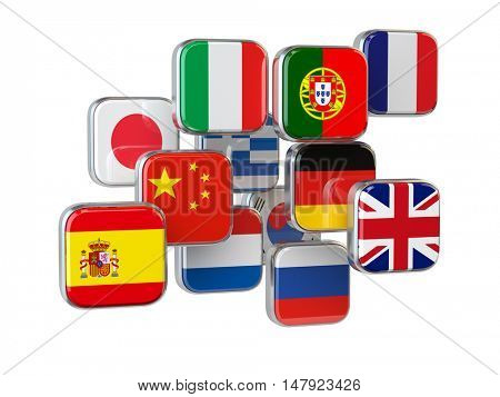 Languages translationor online translator concept. Flags isolated on white. 3d illustrator