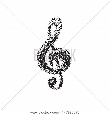 Illustration of a black clef isolated on white background dot work style