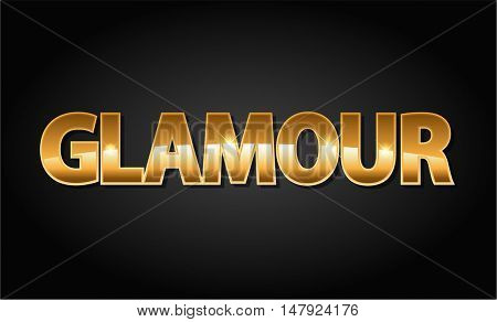 Golden glamour luxury vector word in black background