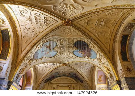 Prague, Czech Republic - August 20, 2011: Interiors And Frescoes Of  Wallenstein Palace Currently Th
