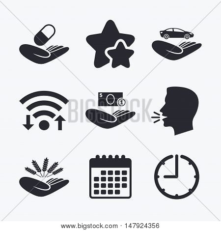 Helping hands icons. Protection and insurance symbols. Save money, car and health medical insurance. Agriculture wheat sign. Wifi internet, favorite stars, calendar and clock. Talking head. Vector