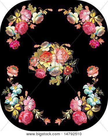 illustration with rose flower decoration on black background