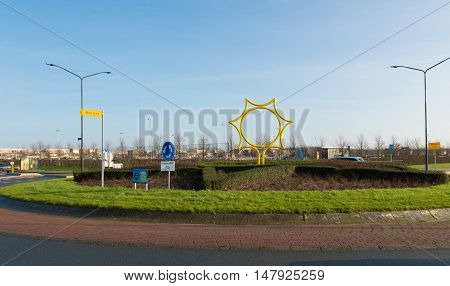 Entrance of Heerhugowaard in the netherlands the city of the sun. It is the largest energy neutral residential area in the world. It produces as much energy as it consumes using 3.75 megawatt photovoltaic solar panels and 3 wind turbines