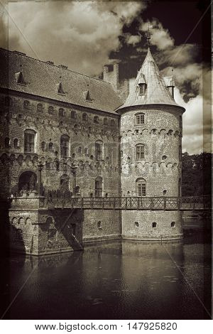 Egeskov Castle, located in the south of the island of Funen, Denmark. Vintage look.