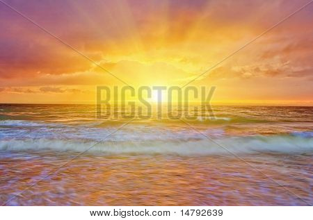 summer landscape with sea sunset