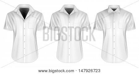 Three variants of men's short sleeved formal button down shirt. Fully editable handmade mesh, Vector illustration.
