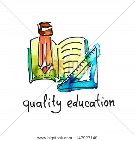 sketch watercolor icon of quality education, distance education and online learning concept vector illustration