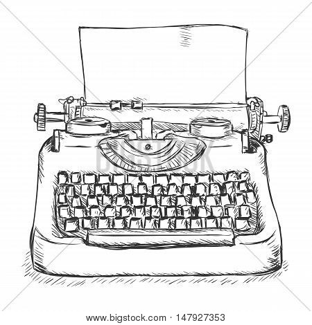 Vector Sketch Retro Typewriter