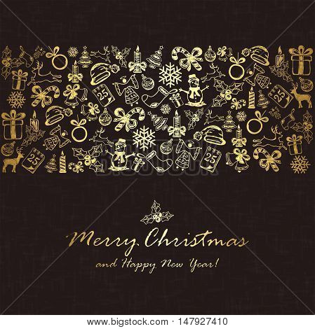 Golden Christmas elements on black background, holiday decorations with Christmas tree, balls, bells, candle, snowflakes, snowman and deer, illustration.