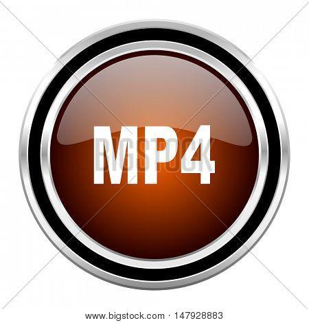 mp4 round circle glossy metallic chrome web icon isolated on white background