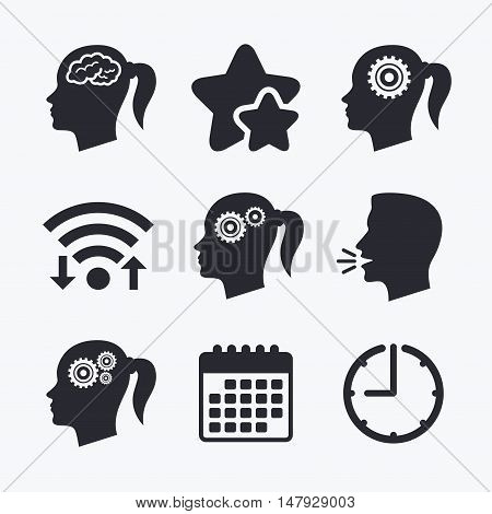 Head with brain icon. Female woman think symbols. Cogwheel gears signs. Wifi internet, favorite stars, calendar and clock. Talking head. Vector