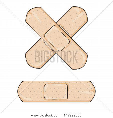 Vector Cartoon Bactericidal Plaster.