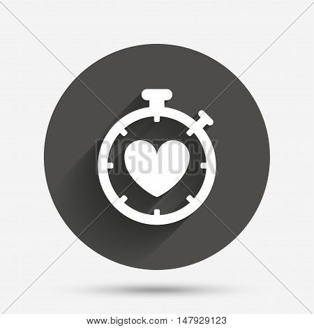 Heart Timer sign icon. Stopwatch symbol. Heartbeat palpitation. Circle flat button with shadow. Vector