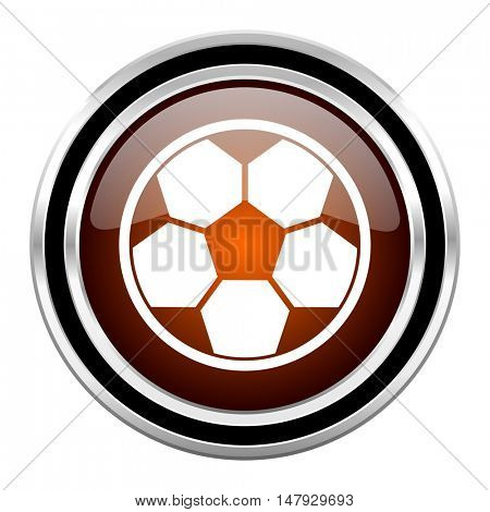 soccer round circle glossy metallic chrome web icon isolated on white background