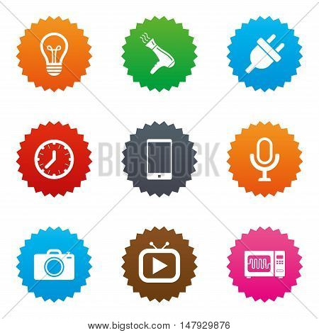 Home appliances, device icons. Electronics signs. Lamp, electrical plug and photo camera symbols. Stars label button with flat icons. Vector