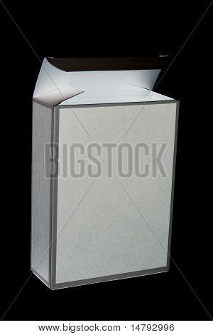 opened cardboard box on black