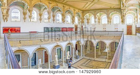 TUNIS TUNISIA - SEPTEMBER 2 2015: Panorama of the upper gallery of the Carthage Room of Bardo National Museum on September 2 in Tunis.