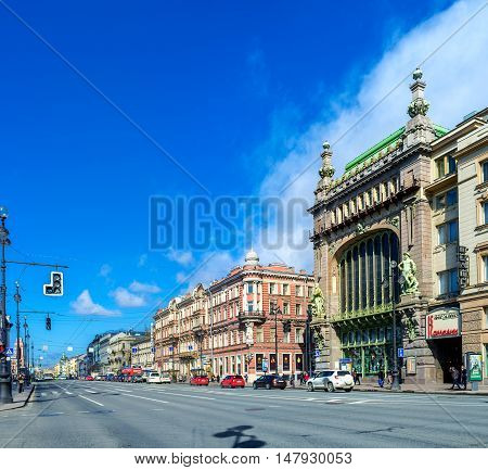 SAINT PETERSBURG RUSSIA - APRIL 25 2015: The scenic mansion is occupied by Nikolay Akimov Comedy Theatre at Nevsky Prospect on April 25 in Saint Petersburg.