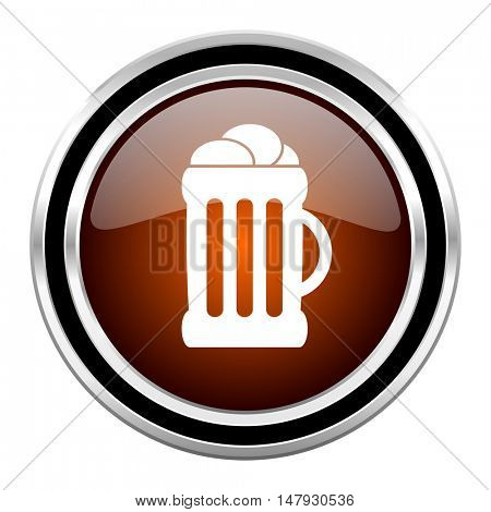 beer round circle glossy metallic chrome web icon isolated on white background