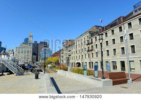 BOSTON - OCT 2, 2013: Boston Custom House in Financial District in Boston, Massachusetts, USA.