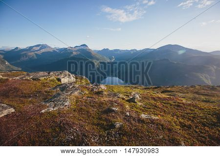 Hiking In Norway, Classic Norwegian Scandinavian Summer Mountain Landscape View With Mountains, Fjor