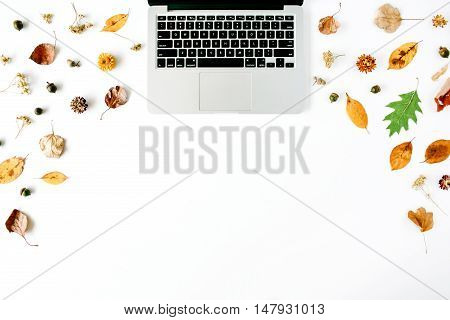 autumn fall flat lay top view home office desk. workspace with laptop acorn yellow leaves on white background flat lay top view