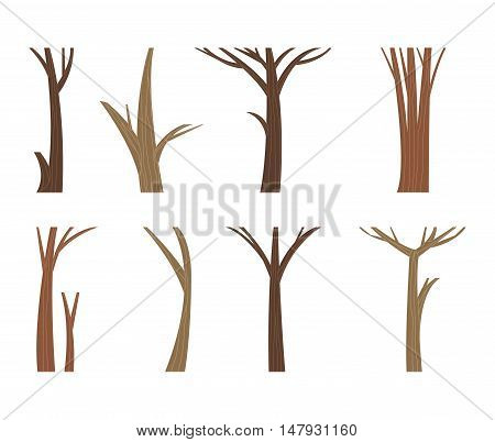 Illustration tree trunk dead single forest branch set. Nature wood tree trunk forest branch environment. Leafless tree trunk vector organic timber wooden dry set. Wooden dry tree branch set.