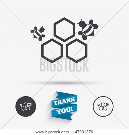 Honeycomb with bees sign icon. Honey cells symbol. Sweet natural food. Flat icons. Buttons with icons. Thank you ribbon. Vector