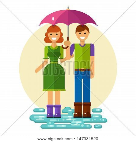 Flat design vector illustration of funny smiling woman and man on dating walk. Girl in dress keeping boy's hand holding umbrella. Including jeans, rubber boots and puddle.