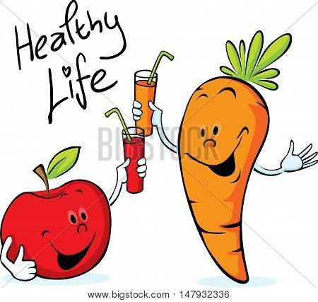 apple and carrot juice drink for health - vector illustration