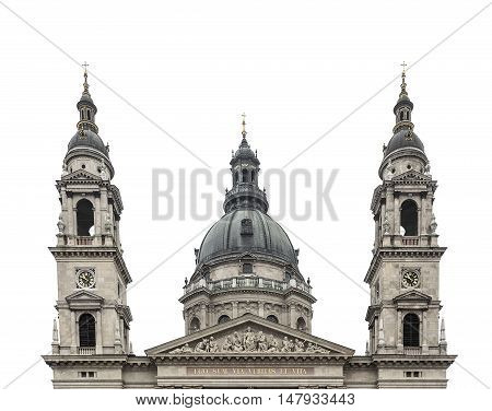 St. Stephen's Basilica in Budapest - Hungary. Isolated on white.
