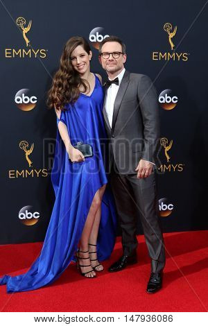 LOS ANGELES - SEP 18:  Brittany Lopez, Christian Slater at the 2016 Primetime Emmy Awards - Arrivals at the Microsoft Theater on September 18, 2016 in Los Angeles, CA