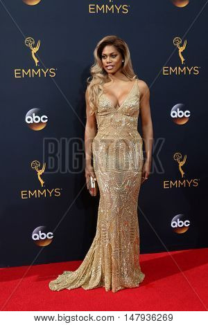 LOS ANGELES - SEP 18:  Laverne Cox at the 2016 Primetime Emmy Awards - Arrivals at the Microsoft Theater on September 18, 2016 in Los Angeles, CA