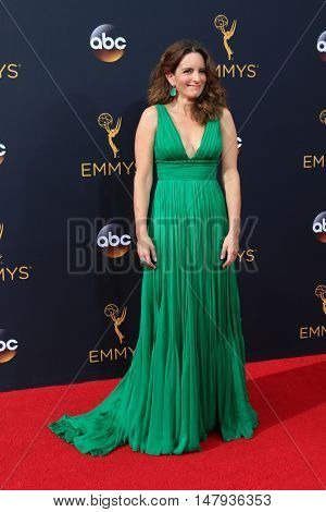 LOS ANGELES - SEP 18:  Tina Fey at the 2016 Primetime Emmy Awards - Arrivals at the Microsoft Theater on September 18, 2016 in Los Angeles, CA