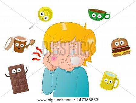 illustration of a boy with a toothache surrounded by sweet meals and candy on white background