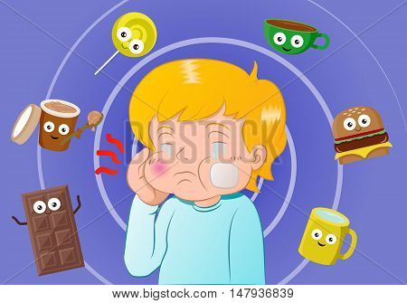 illustration of a boy with a toothache surrounded by images of sweet meals and candy.
