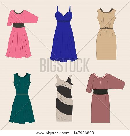 Set Of Different Styles Women Dresses