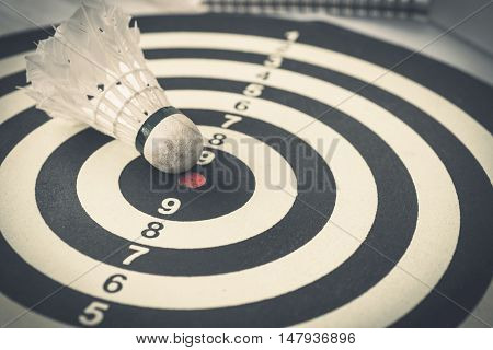 Shuttle Cock In Bull's Eye Success Hitting Target Aim Goal Achievement Concept Background