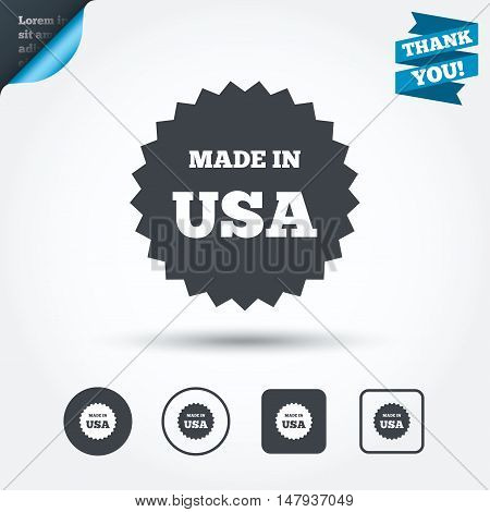 Made in the USA icon. Export production symbol. Product created in America sign. Circle and square buttons. Flat design set. Thank you ribbon. Vector