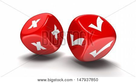 3D Illustration. Dices with accept and decline. Image with clipping path