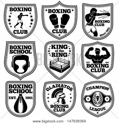 Boxing labels vector set. With boxer, gloves, punchbag, winner belt ring helmet