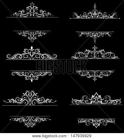 Vintage vector swirl frame set on black