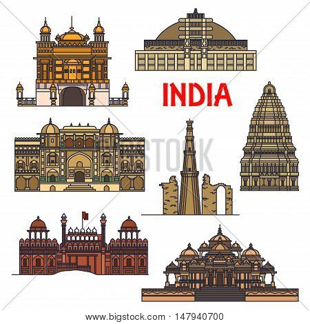 Travel landmarks of indian architecture thin line icon with minaret Qutub Minar, buddhist Great Stupa, Red Fort, sikh Golden Temple, Virupaksha Temple and Swaminarayan Akshardham temple complex