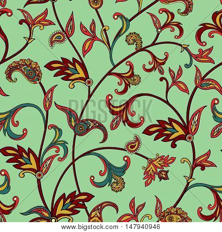 Floral pattern Flourish tiled oriental ethnic background. Arabic ornament with fantastic flowers and leaves.