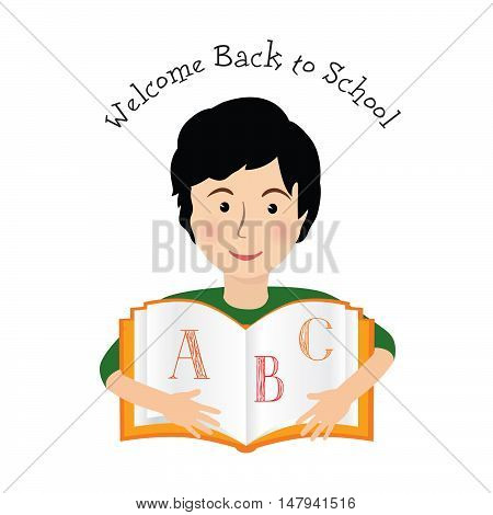 Cheerful smiling little boy over white background with ABC learning book. Welcome back to school concept