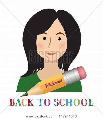 Cheerful smiling little girl over white background with pencil and lettering. Welcome back to school concept