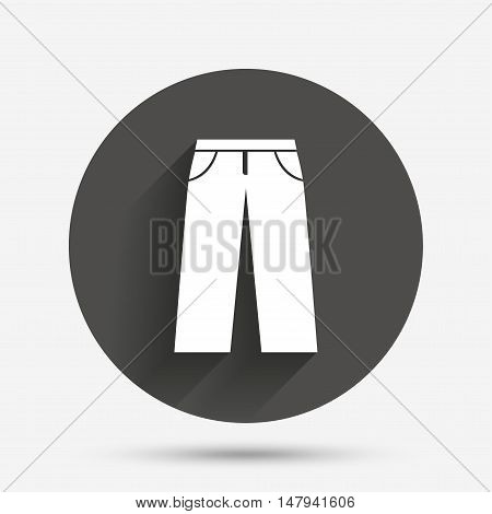Men's jeans or pants sign icon. Casual clothing symbol. Circle flat button with shadow. Vector